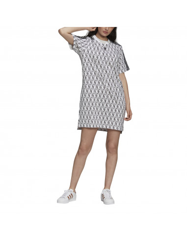 colorante Collar Sueño  Camiseta vestido adidas Originals Tee Dress Color Blanco Tallas de adidas  chica 36